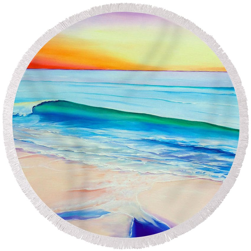 Sunset Painting Sea Painting Beach Painting Sunset Painting  Waves Painting Beach Painting Seaside Painting Seagulls Painting Round Beach Towel featuring the painting At the end of a perfect day by Karin Dawn Kelshall- Best