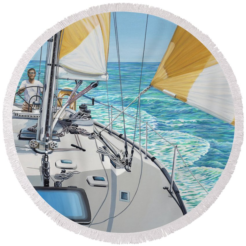 Seascape Round Beach Towel featuring the painting At The Helm by Jane Girardot