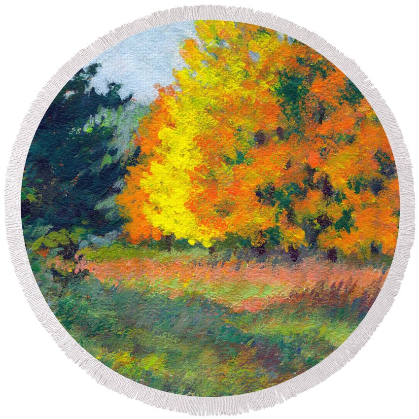 Landscape Round Beach Towel featuring the painting Autumn Etude by Keith Burgess
