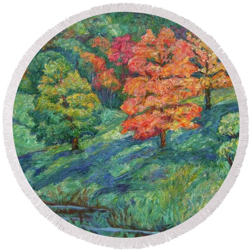 Landscape Round Beach Towel featuring the painting Autumn Pond by Kendall Kessler