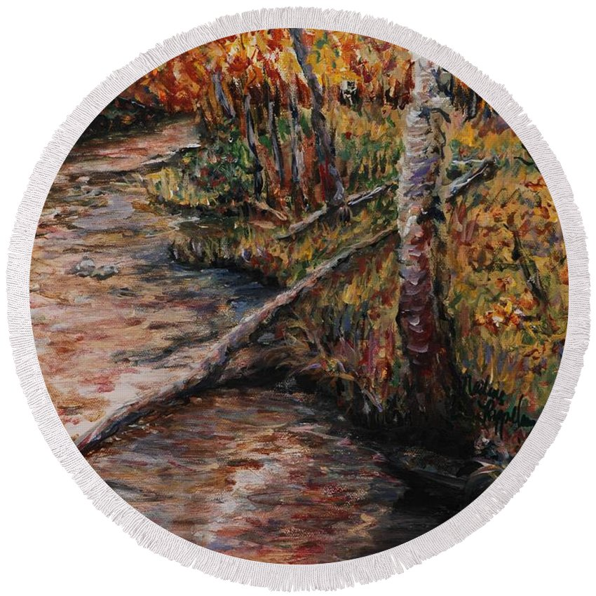 Landscape Round Beach Towel featuring the painting Autumn Reflections by Nadine Rippelmeyer