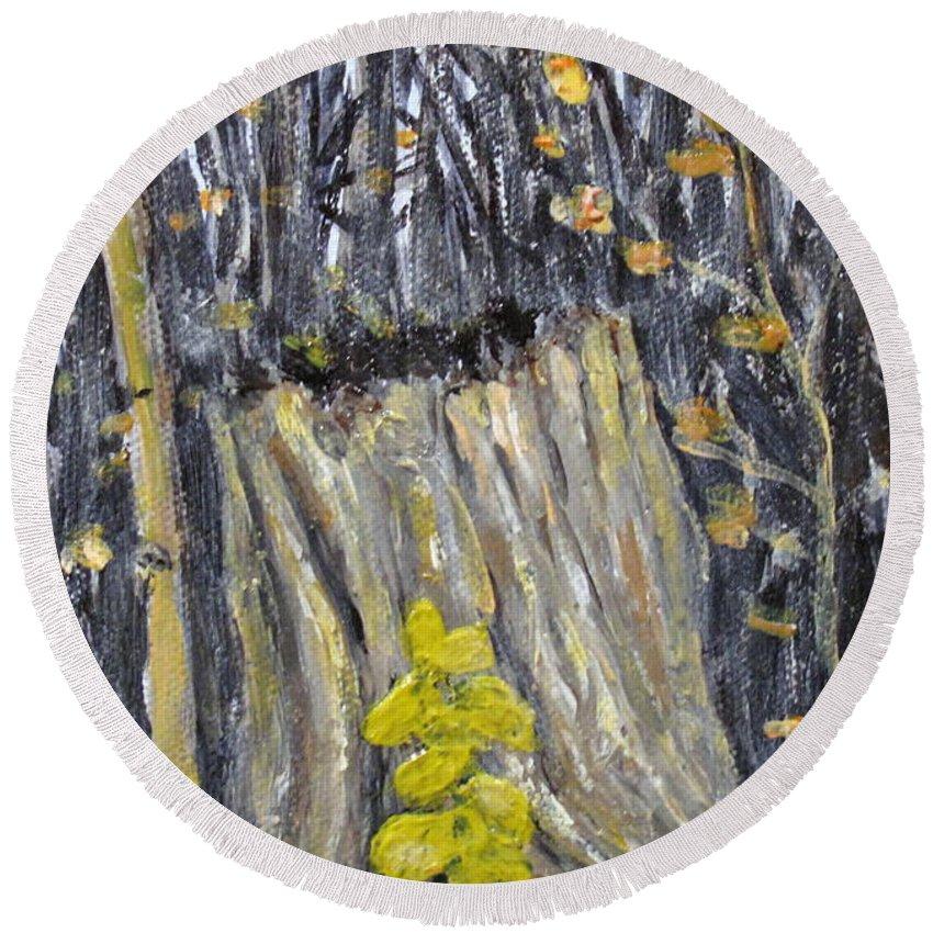 Stump Round Beach Towel featuring the painting Autumn Stump by Ian MacDonald
