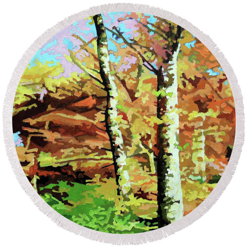 Autumn Round Beach Towel featuring the painting Autumn's Spectacular Display by John Lautermilch