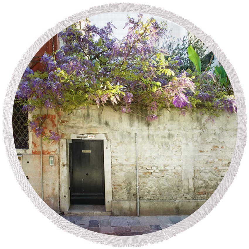 Fine Art Round Beach Towel featuring the photograph B001889 - Wisteria In Venice by Marco Missiaja