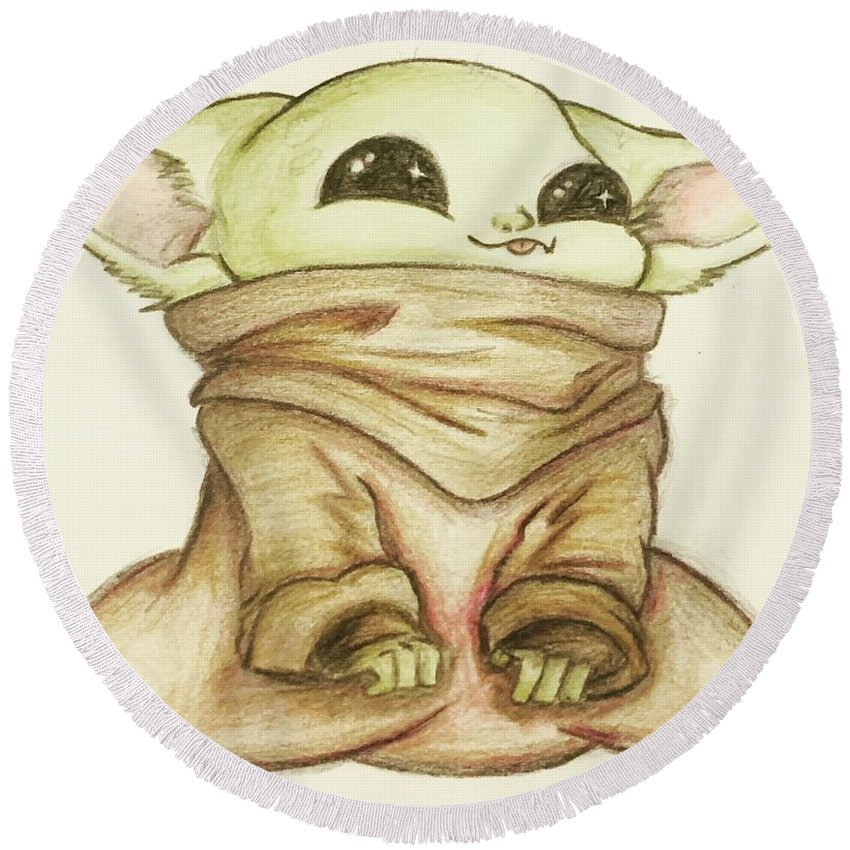 Baby Round Beach Towel featuring the drawing Baby Yoda by Tejay Nichols