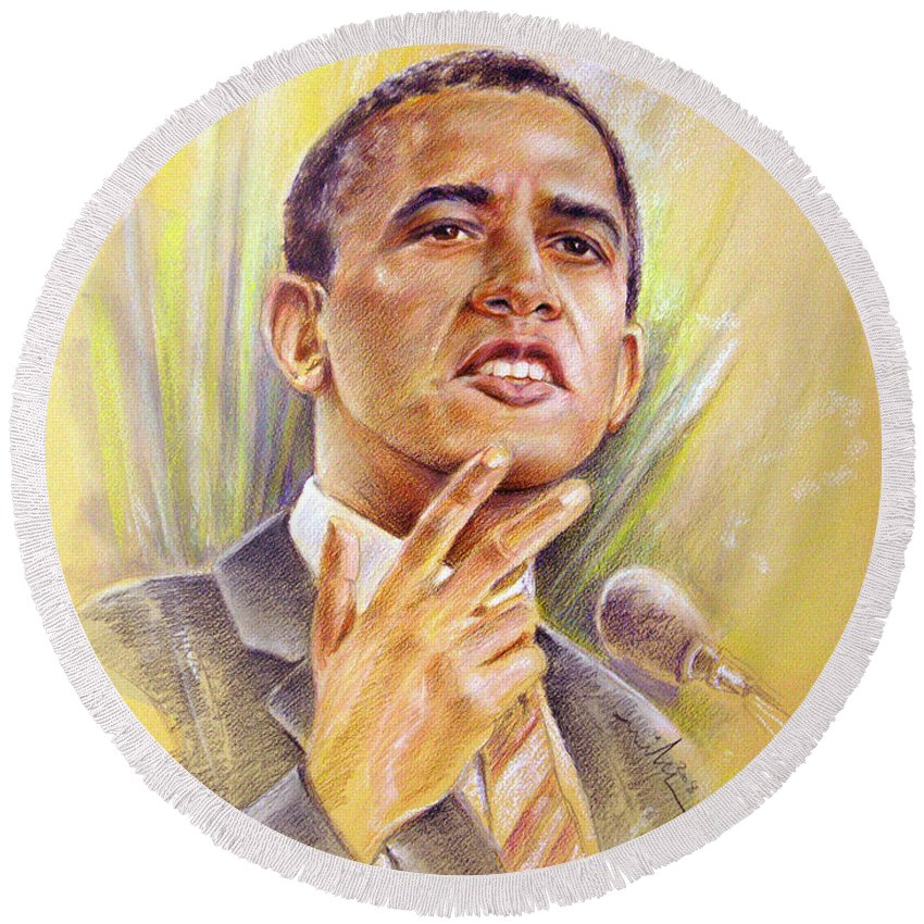 Drawing Persons Round Beach Towel featuring the painting Barack Obama Yes We Can by Miki De Goodaboom
