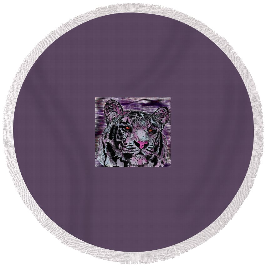 Tiger Round Beach Towel featuring the digital art Bashful Reloaded by Crystal Hubbard