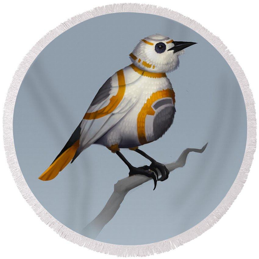 Birds Round Beach Towel featuring the digital art BB Bird by Michael Myers