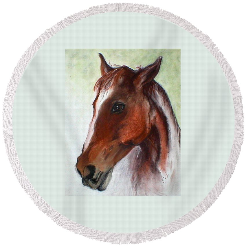 Horse Round Beach Towel featuring the drawing Becky by Cori Solomon