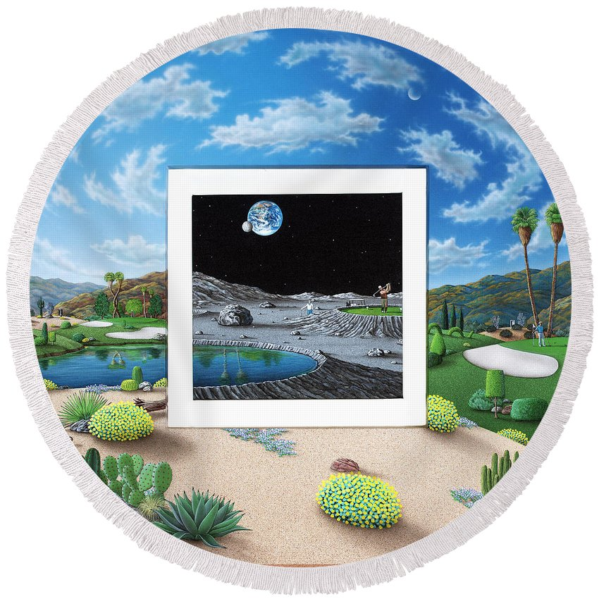 Desert Round Beach Towel featuring the painting Best of Both Worlds by Snake Jagger