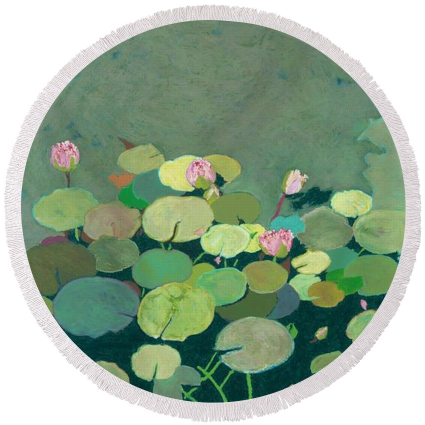 Landscape Round Beach Towel featuring the painting Bettys Serenity Pond by Allan P Friedlander