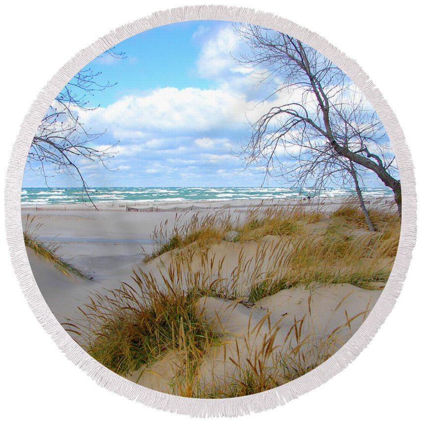Trees Round Beach Towel featuring the photograph Big Waves on Lake Michigan by Michelle Calkins