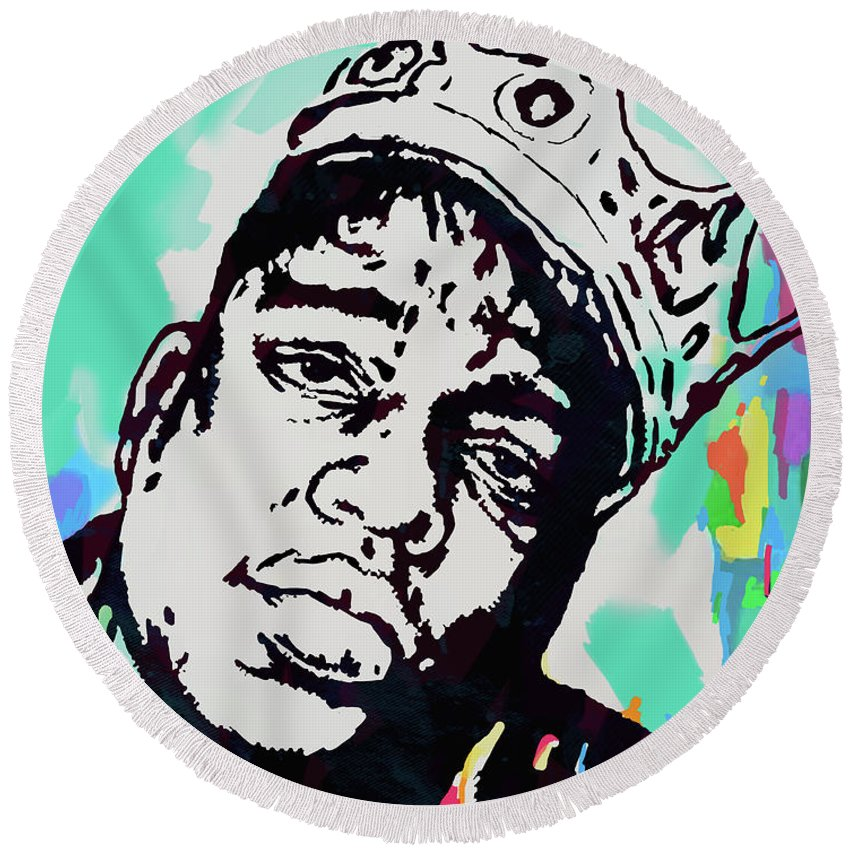 Biggie Smalls Colour Drawing Art Poster - Pop Art Round Beach Towel featuring the mixed media Biggie Smalls - pop art poster 1 by Kim Wang