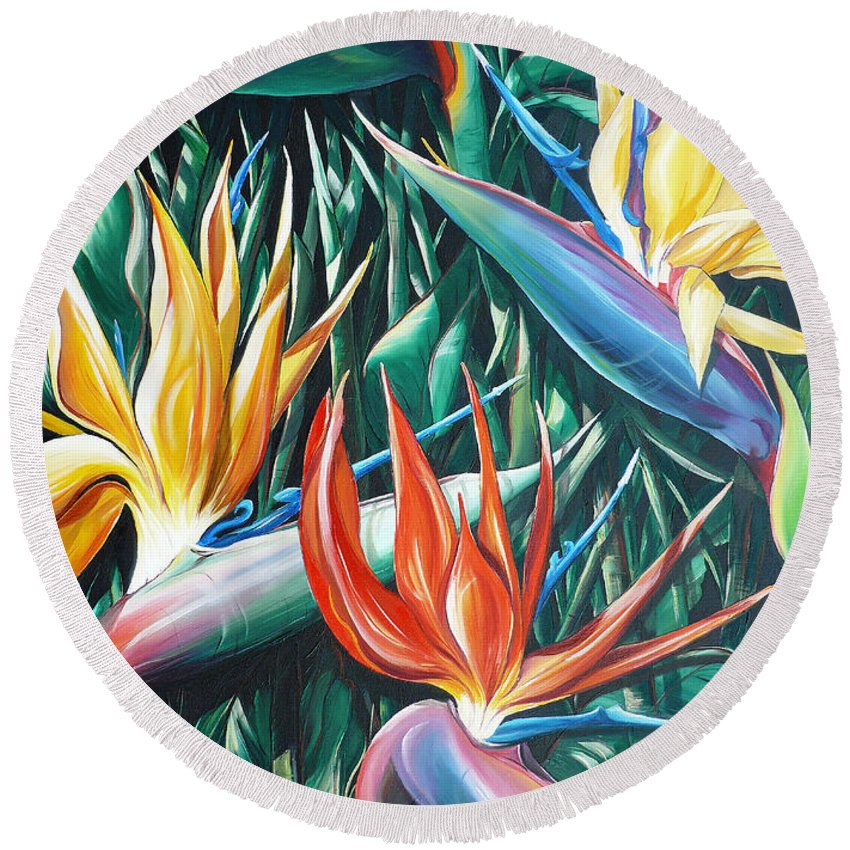 Caribbean Painting Bird Of Paradiseppainting Lily Painting Tropical Musa Painting  . Strelitzer Painting Caribbean Flora Paintingl Flower Red Yellow Painting Greeting Card Painting Round Beach Towel featuring the painting Birds Of Paradise Sold  by Karin Dawn Kelshall- Best