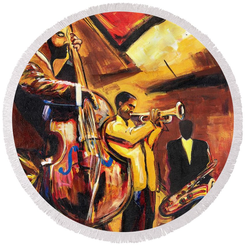 Everett Spruill Round Beach Towel featuring the painting Birth Of Cool by Everett Spruill