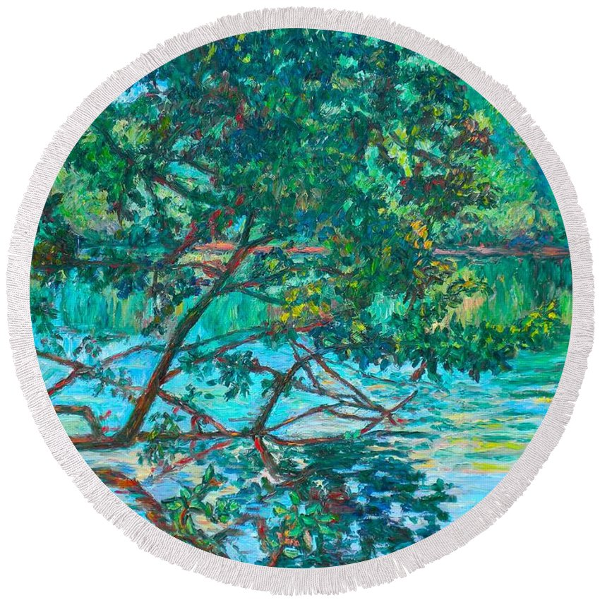 Landscape Round Beach Towel featuring the painting Bisset Park by Kendall Kessler