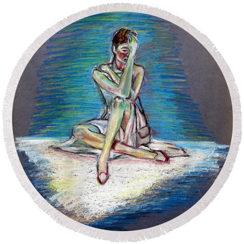 Woman Round Beach Towel featuring the painting Bittersweet by Tom Conway