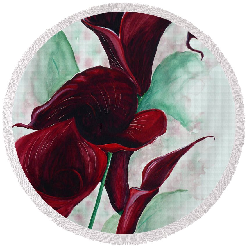 Flower Painting Floral Painting Botanical Painting Tropical Painting Caribbean Painting Calla Painting Red Lily Painting Deep Red Calla Lilies Original Watercolor Painting Round Beach Towel featuring the painting Black Callas by Karin Dawn Kelshall- Best