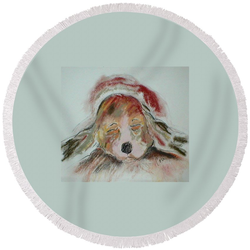 Pastel Round Beach Towel featuring the drawing Blissful Dreams II by Cori Solomon