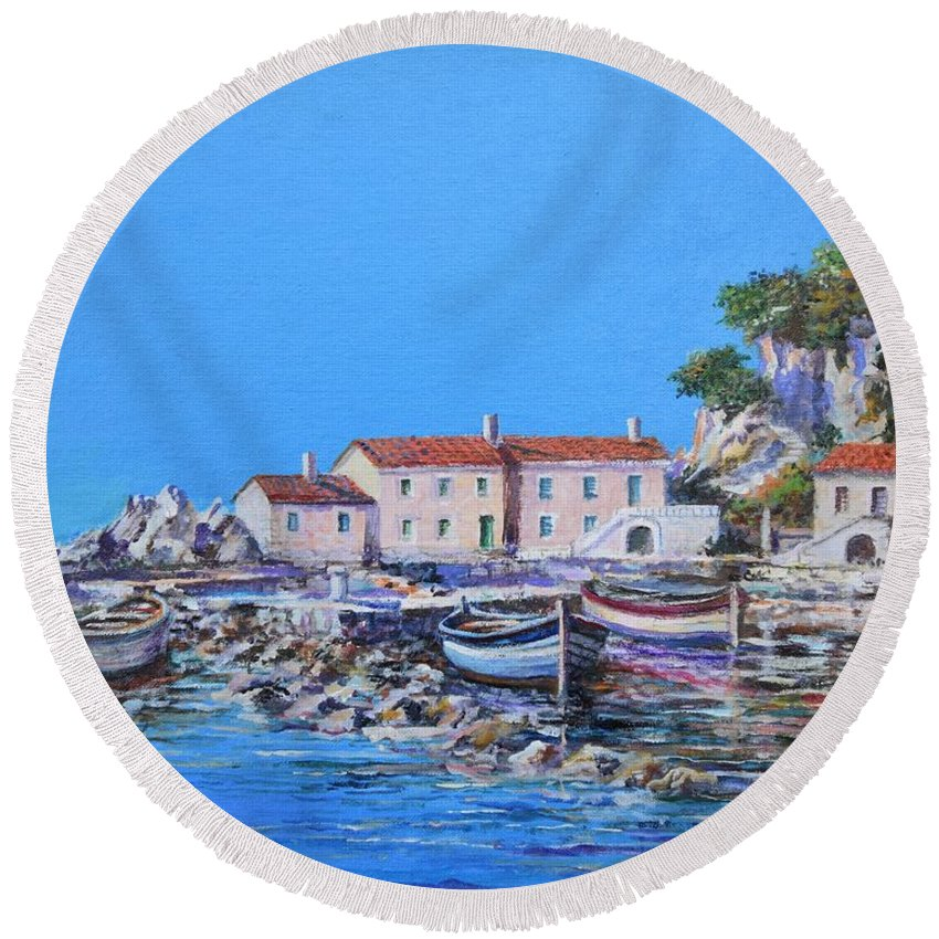 Original Painting Round Beach Towel featuring the painting Blue Bay by Sinisa Saratlic