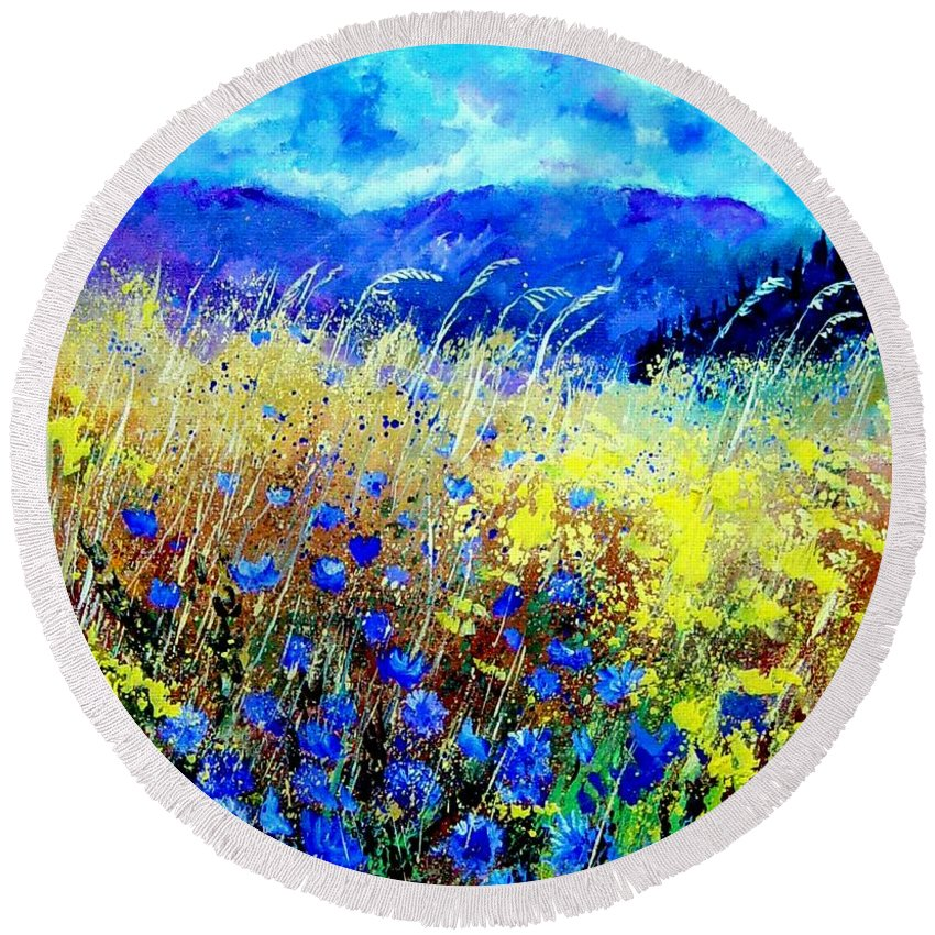 Poppies Round Beach Towel featuring the painting Blue cornflowers 67 by Pol Ledent