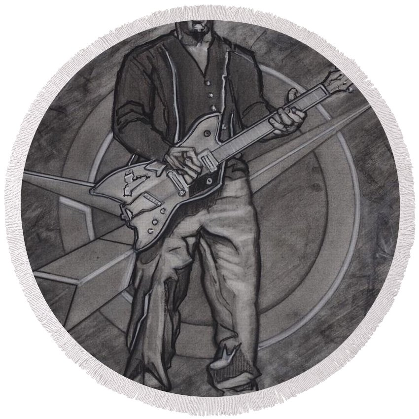 Texas Round Beach Towel featuring the drawing Bo Diddley - Have Guitar Will Travel by Sean Connolly