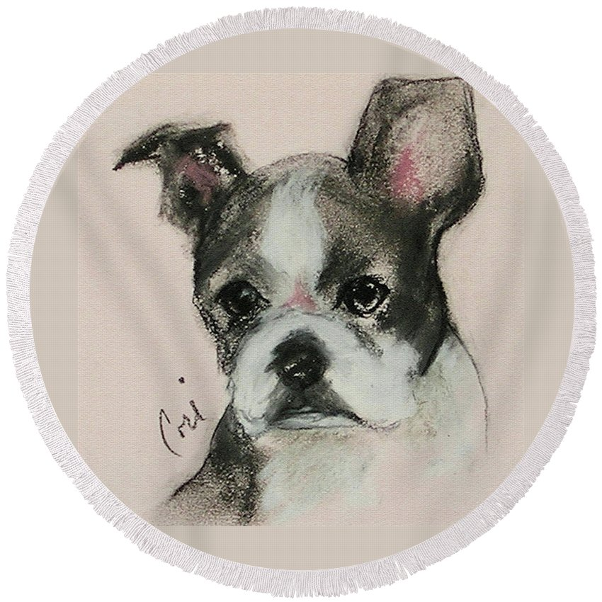 Pastel Round Beach Towel featuring the drawing Bostonian by Cori Solomon