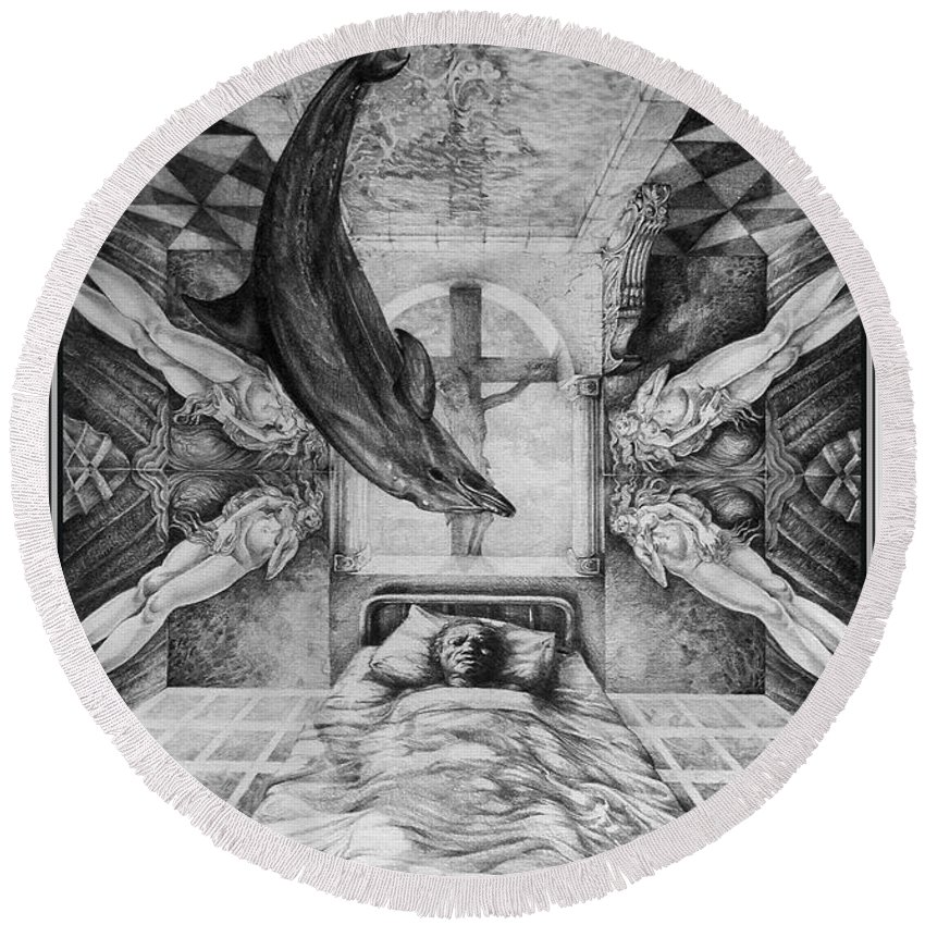 Surrealism Round Beach Towel featuring the drawing Botticellis Dream by Otto Rapp