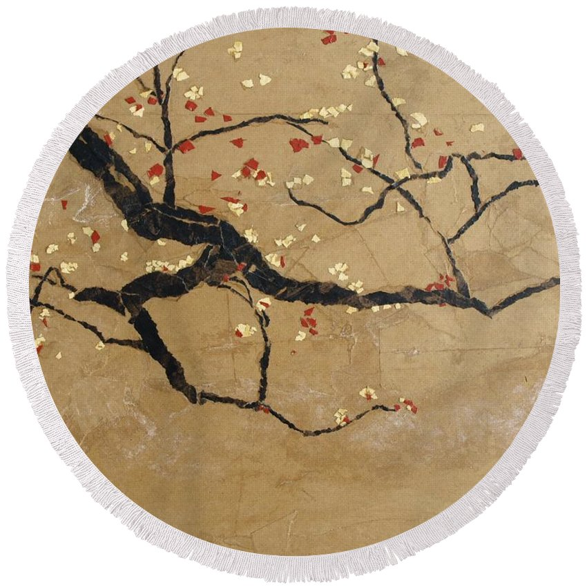 Blooming Branch Round Beach Towel featuring the painting Branch by Leah Tomaino