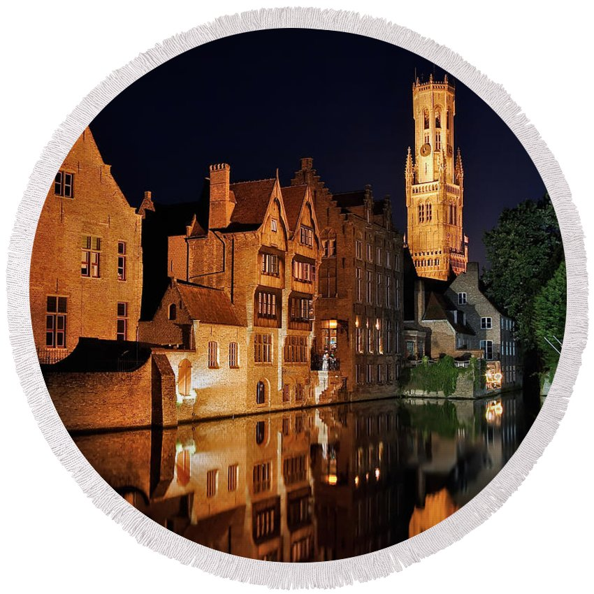3scape Photos Round Beach Towel featuring the photograph Brugge Night by Adam Romanowicz