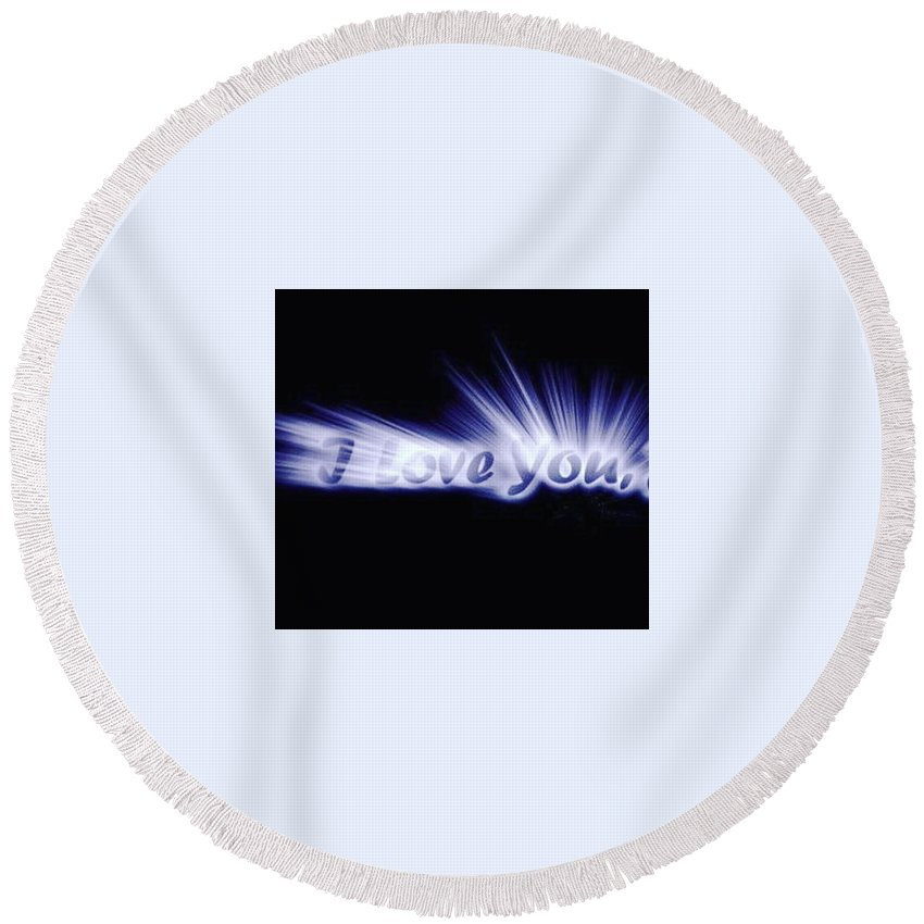 Love Round Beach Towel featuring the digital art Burst Of Love by Ariana Torralba