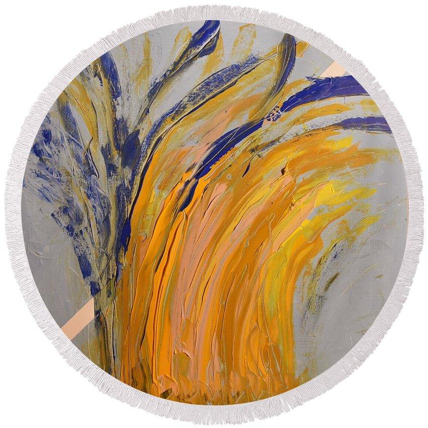 Colorado Round Beach Towel featuring the painting Bursting by Pam Roth O'Mara