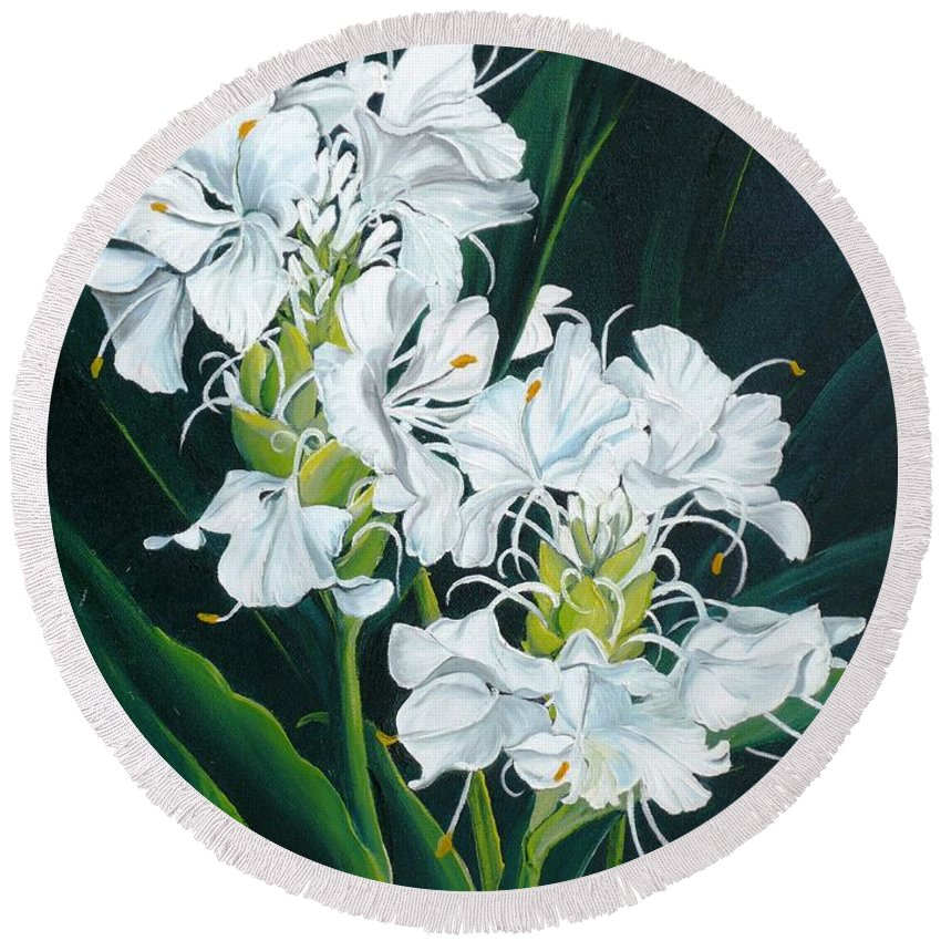 Caribbean Painting Butterfly Ginger Painting Floral Painting Botanical Painting Flower Painting Water Ginger Painting Or Water Ginger Tropical Lily Painting Original Oil Painting Trinidad And  Tobago Painting Tropical Painting Lily Painting White Flower Painting Round Beach Towel featuring the painting Butterfly Ginger by Karin Dawn Kelshall- Best