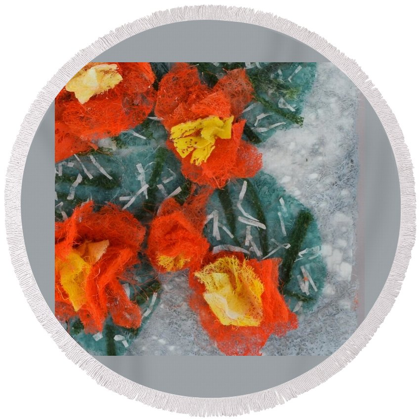 Dryer Sheets Round Beach Towel featuring the mixed media Cactus Flowers by Charla Van Vlack