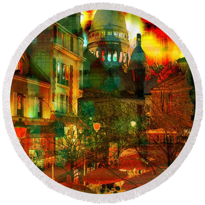Paris Round Beach Towel featuring the digital art Cafe Rue Morgue by Seth Weaver