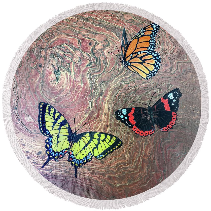 Butterflies Round Beach Towel featuring the painting California Butterflies by Lucy Arnold