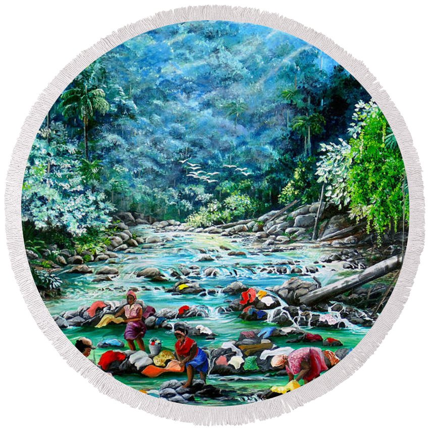 Land Scape Painting River Painting Mountain Painting Rain Forest Painting Washerwomen Painting Laundry Painting Caribbean Painting Tropical Painting Village Washer Women At A Mountain River In Trinidad And Tobago Round Beach Towel featuring the painting Caribbean Wash Day by Karin Dawn Kelshall- Best