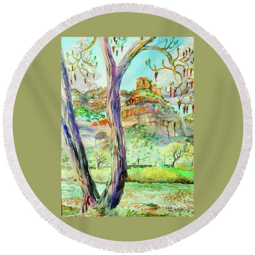 Plein Air Watercolor Framed And Matted With Hanger Pastels Early Spring Debeque Canyon Round Beach Towel featuring the painting Catkins and the Colorado River by Annie Gibbons