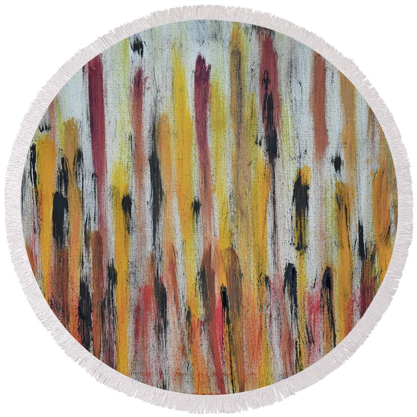 Red Round Beach Towel featuring the painting Cattails at Sunset by Pam Roth O'Mara