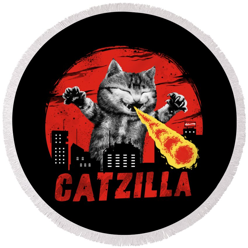 Cat Round Beach Towel featuring the digital art Catzilla by Vincent Trinidad
