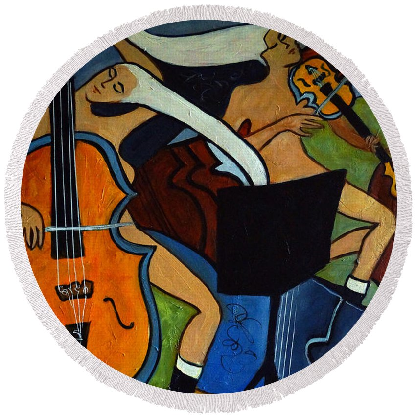 Cubic Abstract Round Beach Towel featuring the painting Cello Violin Cat by Valerie Vescovi
