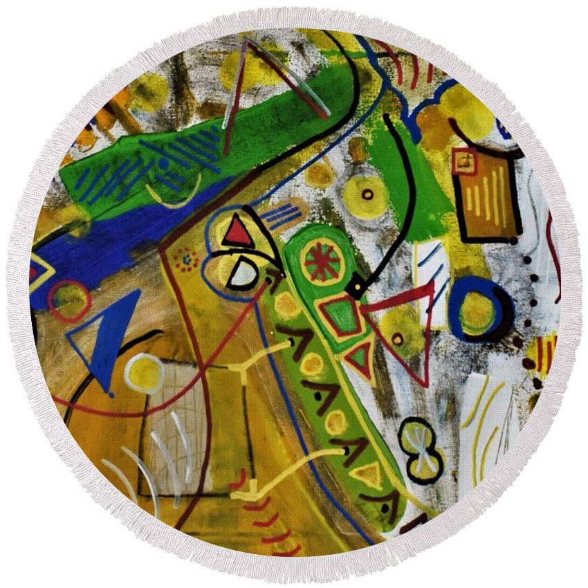 Colorado Round Beach Towel featuring the painting Chaos by Pam Roth O'Mara