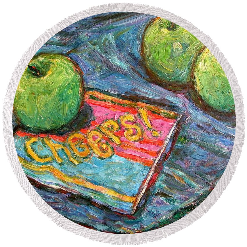 Still Life Round Beach Towel featuring the painting Cheers by Kendall Kessler