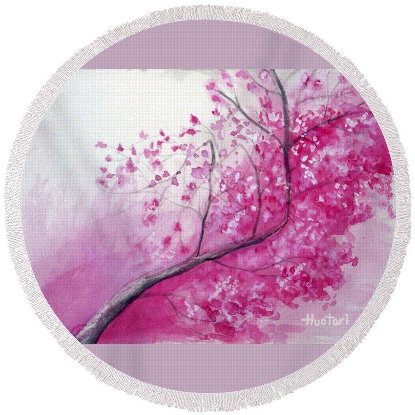 Rick Huotari Round Beach Towel featuring the painting Cherry Tree In Bloom by Rick Huotari