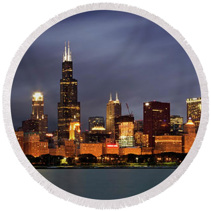 3scape Round Beach Towel featuring the photograph Chicago Skyline at Night Color Panoramic by Adam Romanowicz