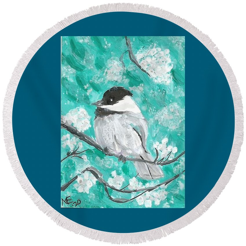 Chickadee Painting Round Beach Towel featuring the painting Chickadee by Monica Resinger