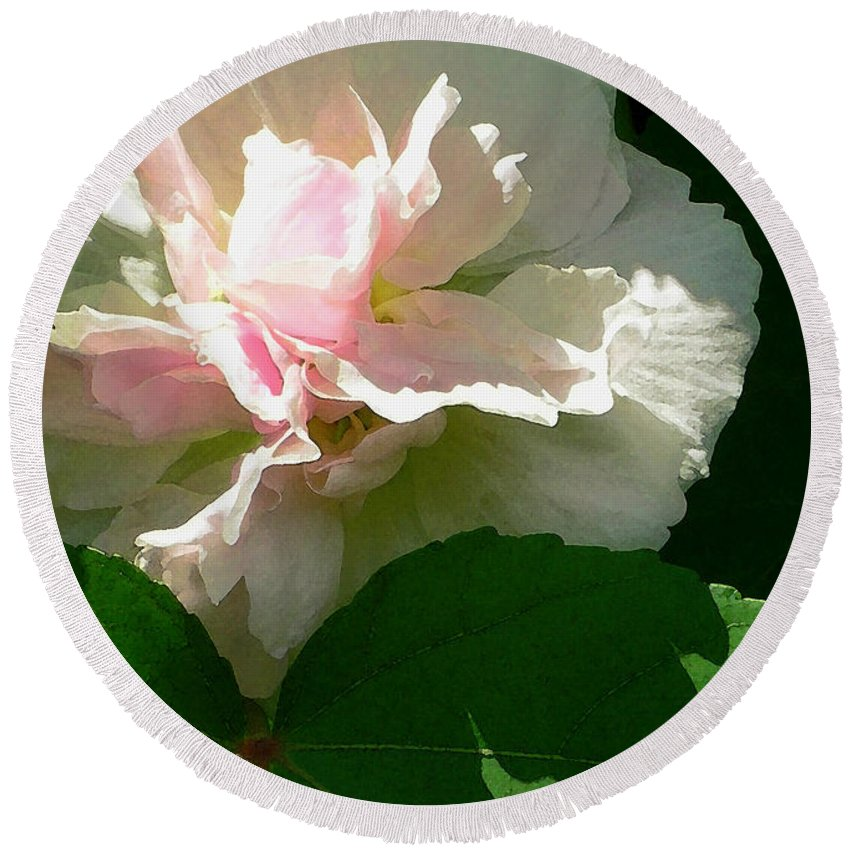 China Rose Round Beach Towel featuring the photograph China Rose 1 by James Temple