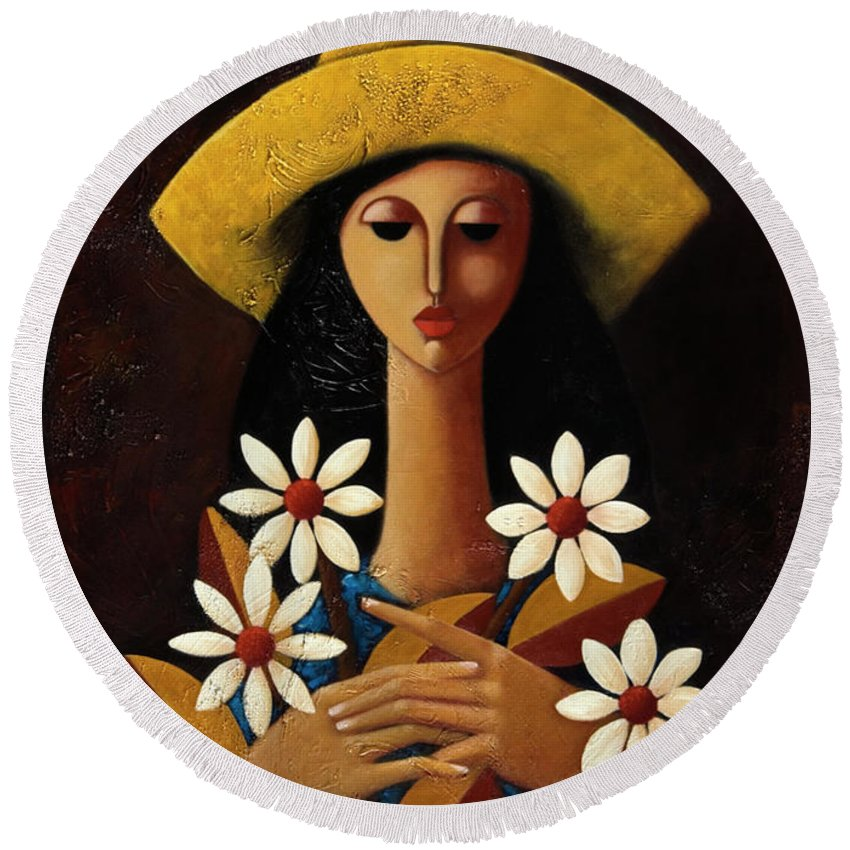 Puerto Rico Round Beach Towel featuring the painting Cinco Margaritas by Oscar Ortiz