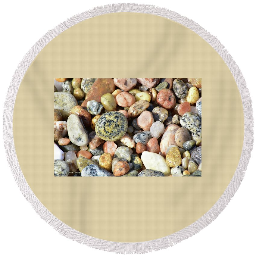 Round Beach Towel featuring the photograph Circle within Stone by ChelleAnne Paradis