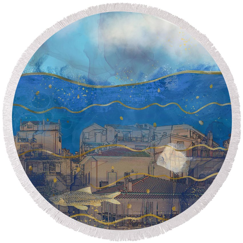 Global Warming Round Beach Towel featuring the digital art Cities Under Water - Surreal Climate Change by Andreea Dumez